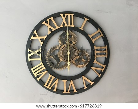 Vintage Wall Clock Hanging On Cement Stock Photo Edit Now