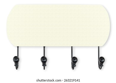 Vintage wall hanger or wall hook isolated on white background