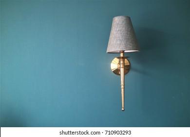 Vintage wall lamp, Vintage lamp on blue wall