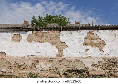 Vintage wall, Old brickwork, Fallen plaster