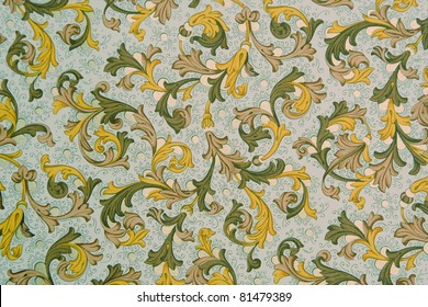 Vintage Wallpaper - Floral Pattern from 18th Century