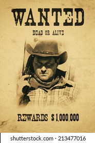 vintage wanted poster in a gost town