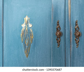 Vintage wardrobe, old furniture. Shabby style interior, furniture from rustic chalk paint. Handmade Provence room style, wood texture.