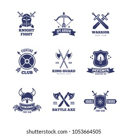 Vintage warrior sword and shield labels. Knight badges. Heraldry coat of arms logos. Emblem and label heraldry, sword and coat of arms design illustration