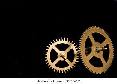 Vintage Watch Clock Cogs on Black Background