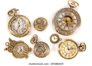 Vintage Watch Collection Isolated On White Background