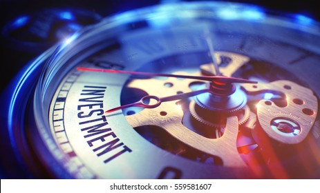 Vintage Watch Face with Investment Phrase on it. Business Concept with Lens Flare Effect. Vintage Watch Face with Investment Wording, Close View of Watch Mechanism. Business Concept. Film Effect. 3D.