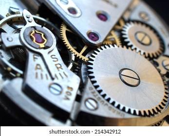 Makro-Details der Vintage-Uhrenmaschinen