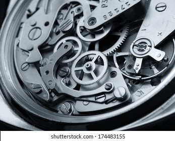 Makro-Detail der Vintage-Uhrenmaschinen