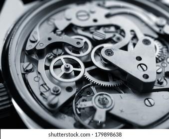 Makro für Vintage-Uhrenmaschinen, monochrome selektive Fokussierung
