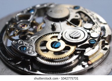 vintage watch machinnery macro detail close up