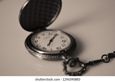 Vintage watch on a chain (black and white photo)