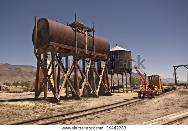 Vintage Water Fuel Tanks Along Railway Stock Photo (Edit Now) 56442283
