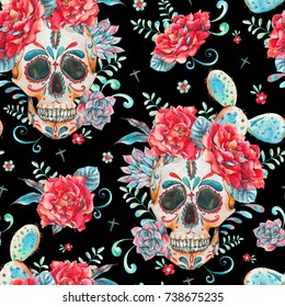 Vintage watercolor card with skull and roses, wildflowers, cactus, succulent. Hand drawn illustration in boho style isolated on black background, Floral skull wallpaper, Day of The Dead