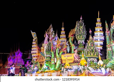 Vintage Wax Castle Festival in Sakon Nakhon, Thailand, OCTOBER 23, 2018. Thai people in their full local tradition full dress for the worshiping dance to sacrifice a tradition of Buddhism 118