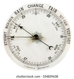 Vintage weathered barometer isolated on a white background