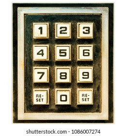 Vintage weathered keypad with reset and number buttons