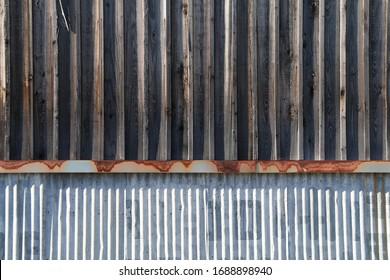 a vintage weathered old metal wood warehouse building