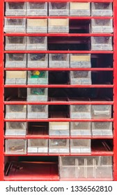 Vintage weathered red small parts and tool storage set with plastic removable bins