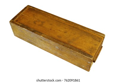 vintage weathered rummy wooden box isolated over white background