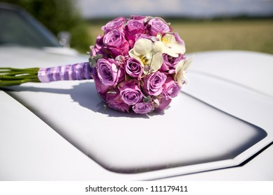 Vintage Wedding Car with Flowers