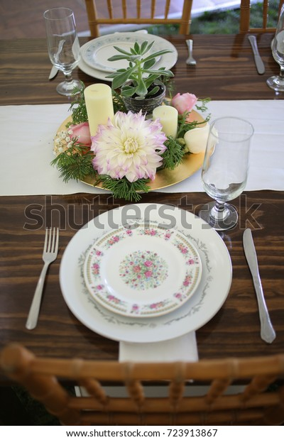 Vintage Wedding Decor Mismatched China On Stock Photo (Edit Now ...
