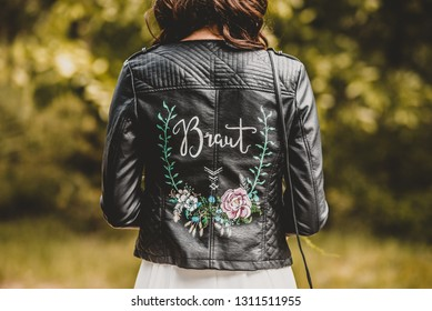 Vintage Wedding Decoration Bride Accessoires Black Leather Jacket with Flowers Painting and Hand Lettering