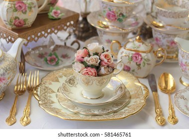 vintage wedding table setting with stacked dinnerware tea cup pink roses and gold cutlery & High Tea Table Images Stock Photos u0026 Vectors | Shutterstock