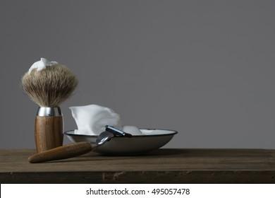 vintage wet Shaving Equipment on wooden Table