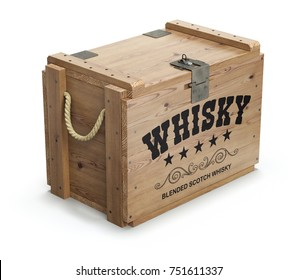 Vintage whisky wooden crate on white background - 3D illustration