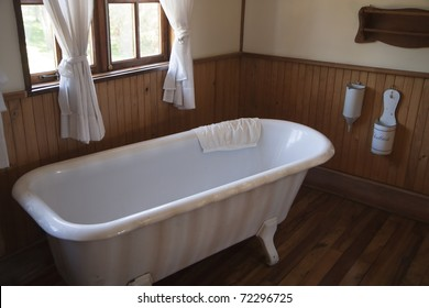 Vintage white bathtub in a bathroom