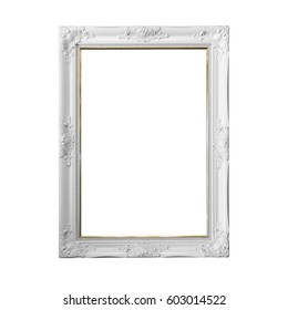 Vintage white frame with blank space, with clipping path.
