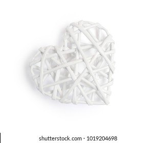 Vintage white hearts on isolated clipping mask on white background, top view illustration for valentine's day or wedding