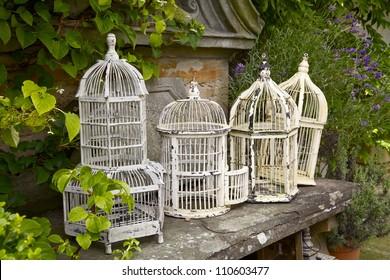 Vintage White Metal Birdcages