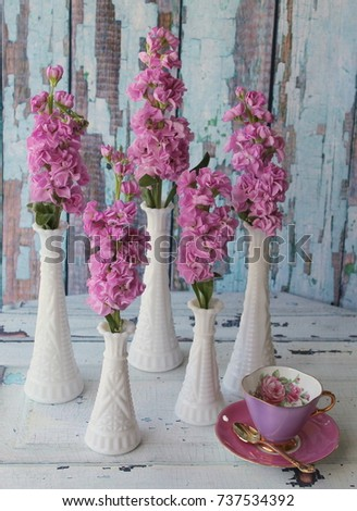 Vintage White Milk Glass Vases Pink Stock Photo Edit Now 737534392