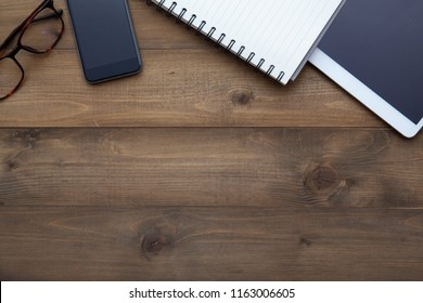 Vintage white paper smartphone mockup flat lay on old table top wood background texture space concept workspace office blank note, plan on calendar new year 2019, business blogger idea empty text view