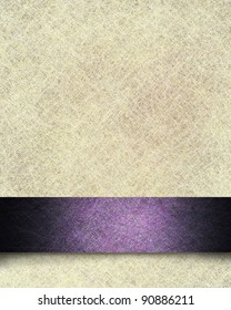 vintage white parchment paper background illustration with linen texture and fancy purple formal ribbon stripe design with dark grunge and soft highlight with copy space for Easter announcement text
