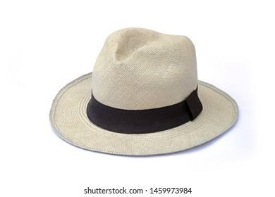 Vintage white straw hat fasion with black ribbon isolated on white background. This has clipping path