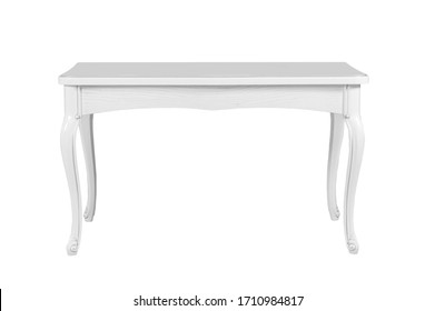 vintage white table isolated on white background