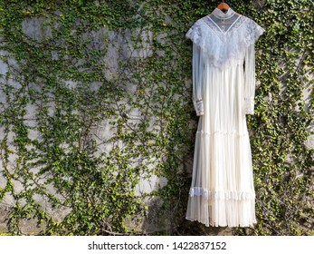 Vintage white wedding dress and green leaves , green trees background