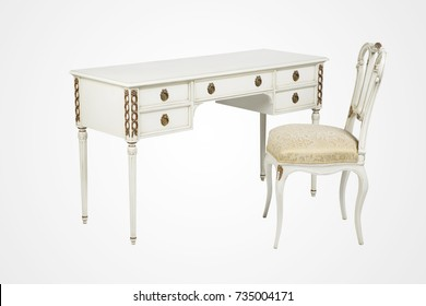 Vintage White wooden desk with chair set