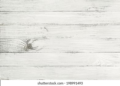 Vintage white wooden table top view. wood background