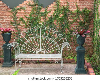 Vintage white wrought iron patio bench on brick wall with green ivy background, Indoor garden decoration design.