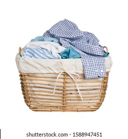 Vintage wicker basket with laundry isolated on white background