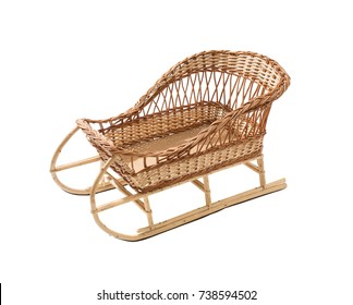 Vintage wicker sledge isolated on white background