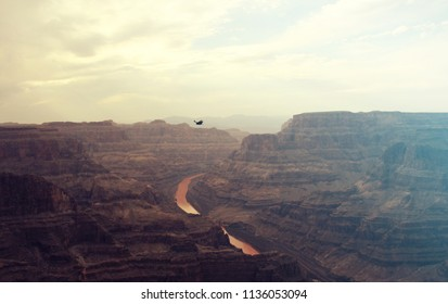 Vintage, Wild West-style landscape of the Grand Canyon National Park and Colorado River.