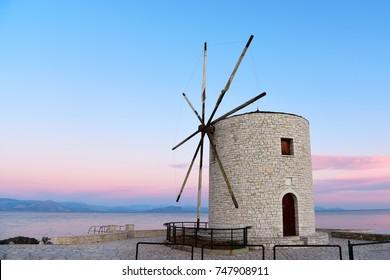 Vintage windmill on the island of Corfu. Greece.