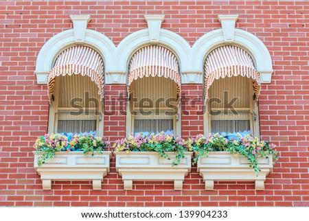 Vintage Window Awnings Curtain Decorated Flowerpot Stock Photo Edit