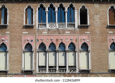 Vintage window and detail of a classical building in the historical center of Venezia, Italy