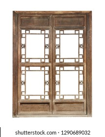 Vintage window frame, chinese style (with clipping path) isolated on white background